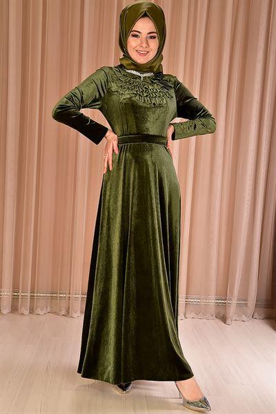 Modamerve Yaka Firfirli Kadife Elbise Haki Mrg 21061 Musluman Modasi Moda Stilleri Elbise