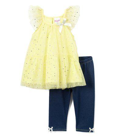 ff0d924ffb1 Nannette Kids   Yellow Star Foil Angel-Sleeve Top & Leggings ...