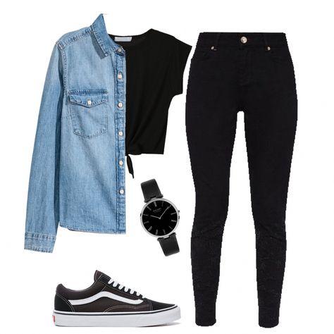 #384 polyvore >> smartcloset app - H&M denim shirt, H&M black tee, Primark jeans, Vans shoes #Croppedjeansoutfit