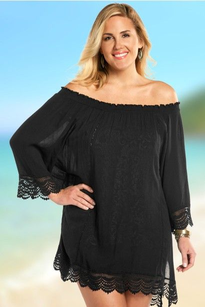 Smocked Off Shoulder Plus Size Swim Cover up by Always For ...