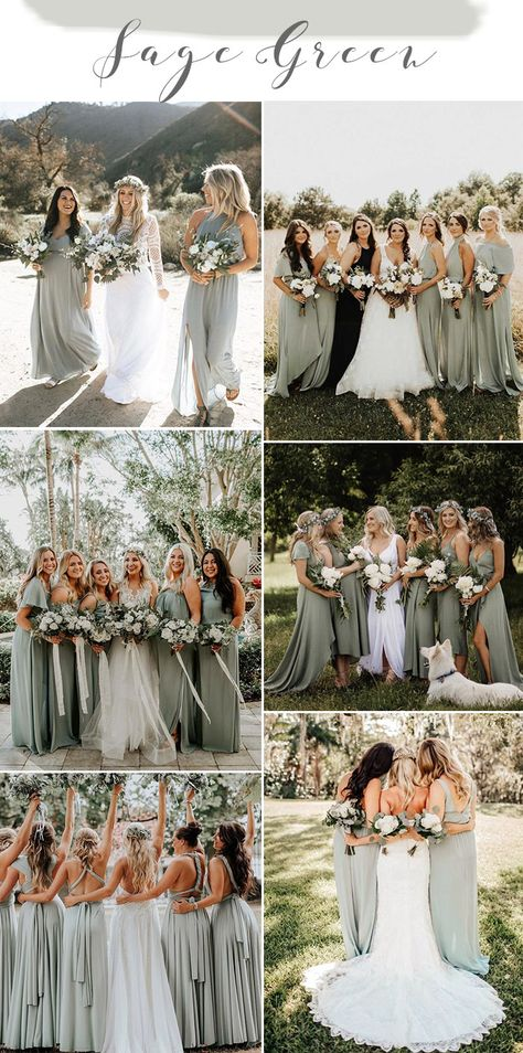 Refreshing, tender, exquisite and very relaxing, sage green is one of the few colors that looks good year-round, and also works for nearly every wedding style. The natural green shade gives you the opportunity to bri. Sage Bridesmaid Dresses, Bridesmaids And Groomsmen, Winter Wedding Bridesmaids, Bridesmaid Color, Green Bridesmaids, Bridesmaid Ideas, Sage Green Wedding, Wedding Ideas Green, Green Weddings