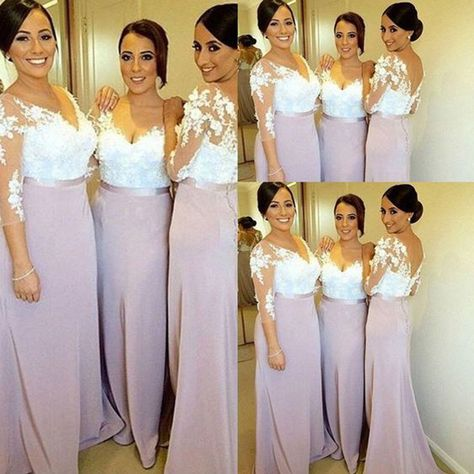 c734ed0039b Charming Long Sleeve White Lace Elegant Long Inexpensive Wedding Party Bridesmaid  Dresses