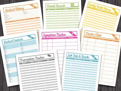Medical Binder Free printables, Binder and Medical - health history template