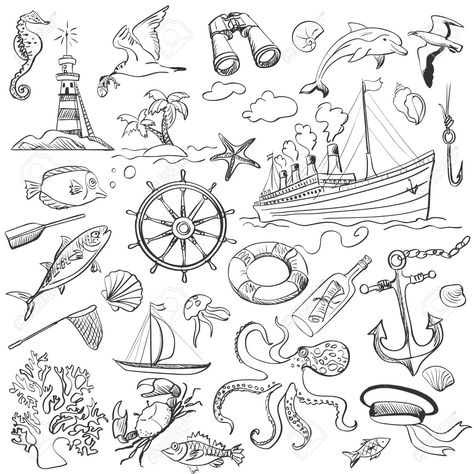 Hand-drawn Elements Of Marine Theme With A Lighthouse, Ships ...