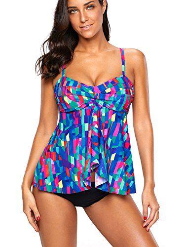 1fe69a9fdab Azokoe Womens Summer Fahion Bandeau Flyaway Top High Waist Tankini Set with  Triangle Briefs Swimsuit (S-3XL)