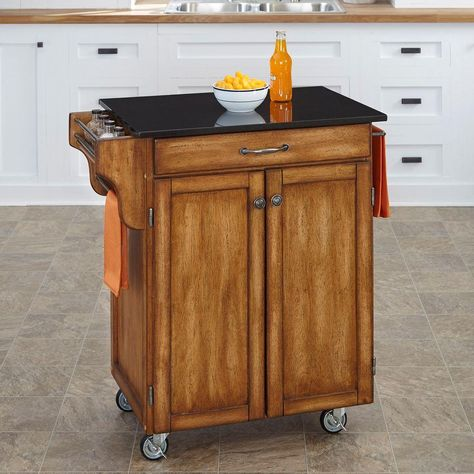 Homestyles Cuisine Cart Warm Oak Kitchen Cart With Black Granite Top 9001 0064 Small Kitchen Cart Kitchen Cart White Kitchen Cart