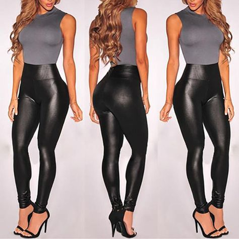 Legging Sexy PU Leather High Waist Stretch Slim Skinny Tight Pencil Pants for Women