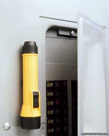 magnetic flashlight on the breaker box. Why have i never thought of this? Of course, I'll probably need a flashlight just to GET to the breaker box! Storage Room Organization, Basement Storage, Food Storage, Organized Basement, Organization Ideas, Basement Ideas, Storage Spaces, Storage Ideas, Smart Storage
