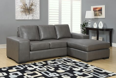 Monarch Specialties Charcoal Gray Bonded Leather Sofa Lounger Reviews Goedekers Com With Images Leather Sectional Sofas Grey Sectional Sofa Faux Leather Sectional