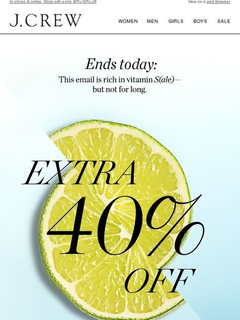 Don't forget your vitamin S(ale)! Extra 40%-50% off sale styles ends today. - J.Crew