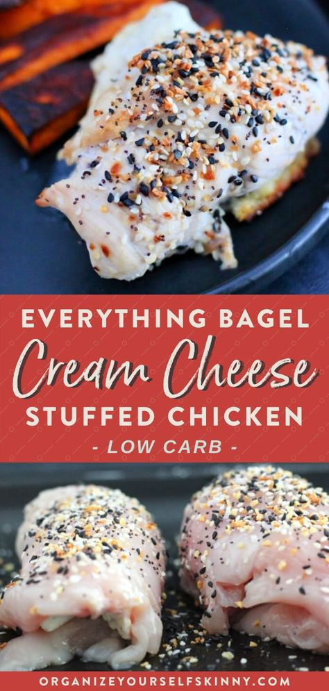 Low Carb Everything But the Bagel Chicken with Cream Cheese Filling | Easy Meal Prep Recipes - Are you obsessed with everything bagel seasoning from Trader Joes as much as I am?! Good - because this everything but the bagel chicken is low carb, easy, healthy  delicious. Click through for the full recipe! Organize Yourself Skinny | everything bagel seasoning recipes #everythingbagel #chickenrecipe #mealpreprecipes #healthychicken