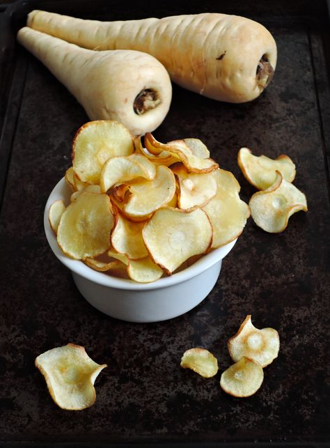 Baked Parsnip Chips | via @addalittle