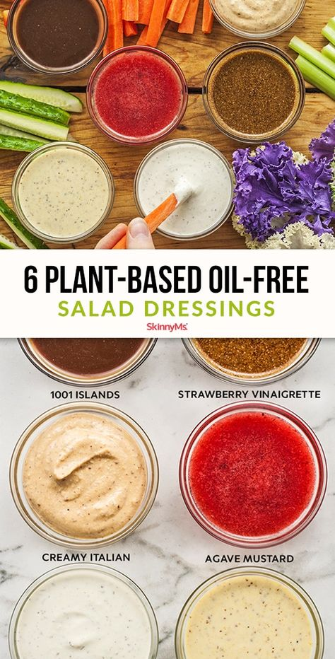 If you're interested in trying out a whole food, plant-based diet, start with these 6 plant based oil-free salad dressing recipes. Plant Based Diet Meals, Plant Based Whole Foods, Plant Based Eating, Plant Based Nutrition, Plant Based Recipes, Oil Free Salad Dressing, Salad Dressing Recipes, Salad Recipes, Healthy Salad Dressings