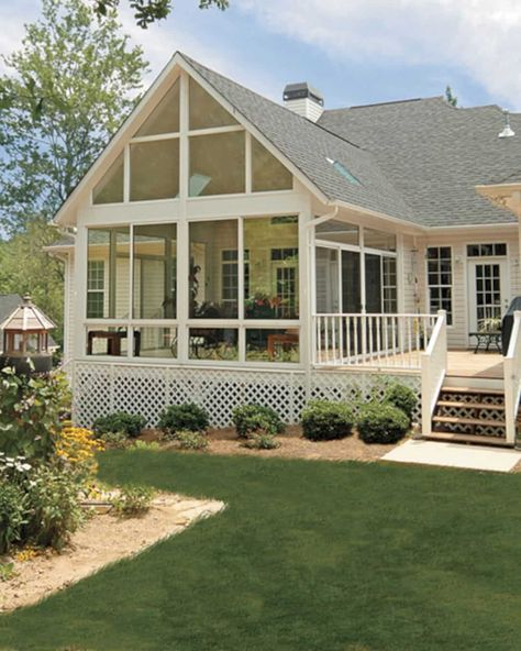Best Screened in Porch Design Ideas - Awesome Indoor & Outdoor Screened Porch Decorating, Screened Porch Designs, Screened In Porch, Front Porches, Porch Roof, Side Porch, Front Windows, Front Doors, Sliding Doors