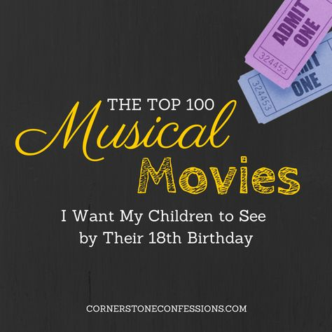 The top 100 musical movies listed by age appropriateness though some I would show my kids a bit earlier. Great for homeschool education or a Friday night watch for the whole family. - I'm a sucker for musicals!
