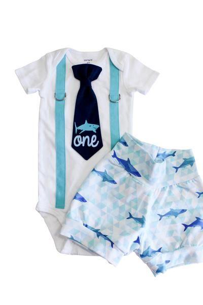 First B-Day Baby Bodysuit Birthday Shark Romper Shark Lovers
