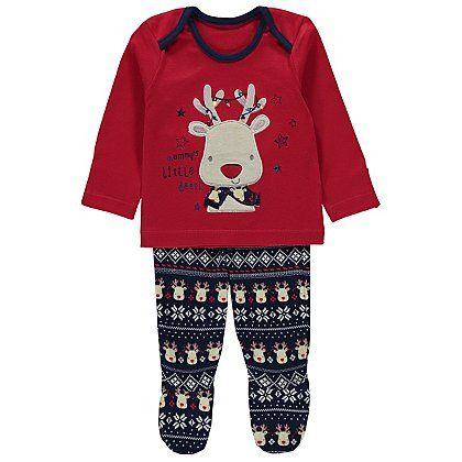 Jojo Maman Bebe Xmas Reindeer Babygrow Dungarees T shirt top Set JUMPSUIT NB-6M