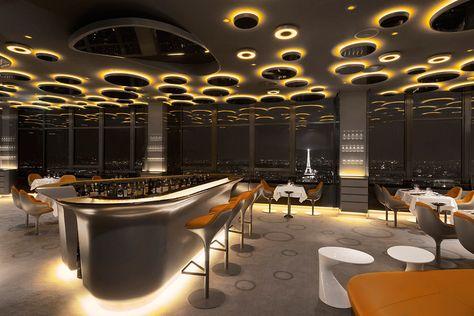 Interior design for the Ciel de Paris restaurant in the Montparnasse Tower in Paris by Noé Duchaufour-Lawrance