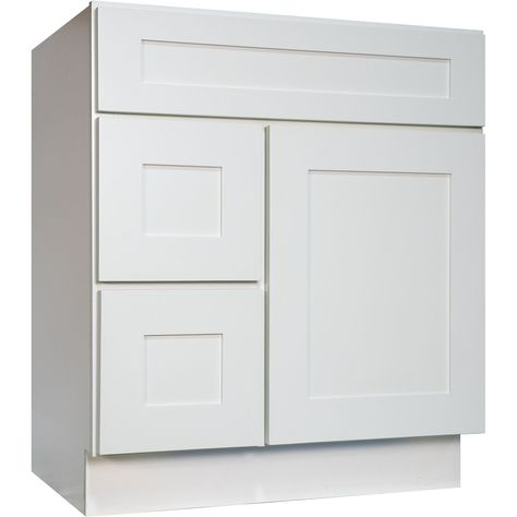 30 Inch Bathroom Vanity Single Sink Cabinet in Shaker White with Soft Close Drawers