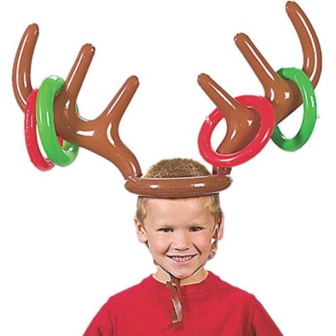 Ishua Party Toss Game Inflatable Reindeer Antler Hat with Rings Family Kids Halloween Christmas Fun Games