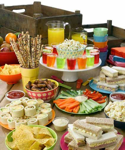 Party food spread for kids