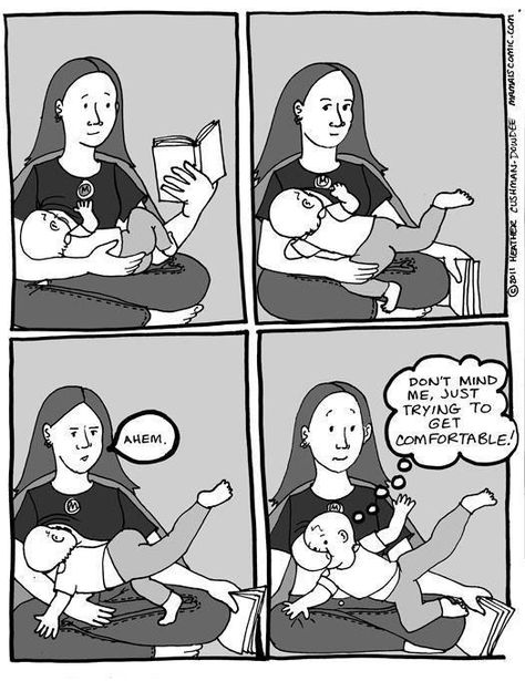 Feeding an acrobat baby. | 21 Things Only Breastfeeding Mums Know