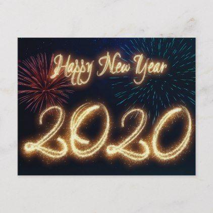 Sparkling Happy New Year 2020 Fireworks Holiday Postcard Zazzle Com Happy New Year Stickers Holiday Postcards Custom Holiday Card