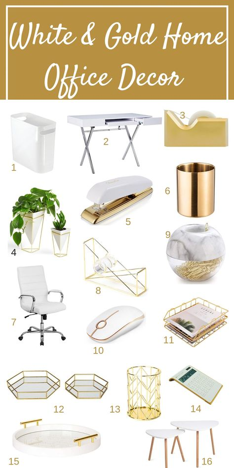 White and Gold home office ideas for a beautiful home office that is functional feminine and chic This post covers home office ideas to make working from home enjoyable homeofficeideas whitehomeofficedecor workfromhome Work Desk Decor, Study Room Decor, Cute Room Decor, Work Office Decorations, Decorating Office At Work, Gold Room Decor, Wall Decor, Home Office Space, Home Office Design
