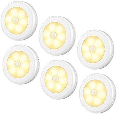 Amir Motion Sensor Light 6 LED 3 Pack Cordless Battery-Powered LED Night Lig...