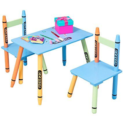 Cool Costzon Kids Table And 2 Chairs Set Crayon Themed Furniture Dailytribune Chair Design For Home Dailytribuneorg