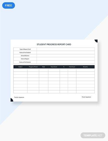 Student Progress Report Card Template Pdf Word Apple Pages Google Docs Report Card Template Progress Report Template School Report Card