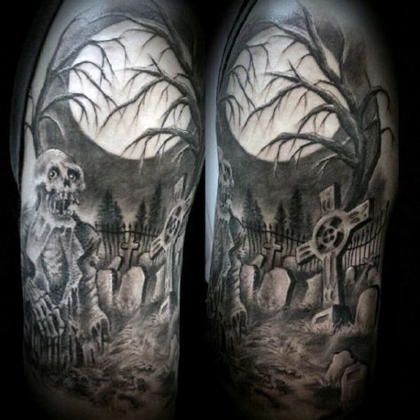 40 Graveyard Tattoo Designs For Men Earthy Ties Left Behind Graveyard Tattoo Halloween Tattoos Sleeve Tattoo Designs Men
