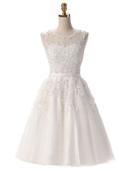 Neckline:Scoop Material:Polyester Decoration:Beading,Embroidery,Lace,Sequined Silhouette:A-Line Sleeve Length(cm):Sleeveless Dresses Length:Knee-Length Fabric Type:Organza Waistline:Natural Sleeve Style:Tank