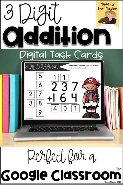 3 Digit Addition with Regrouping Digital Task Cards