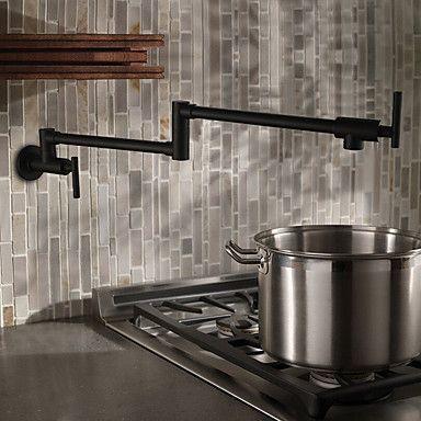 104 49 Kitchen Faucet Two Handles One Hole Oil Rubbed Bronze Pot Filler Wall Mounted Traditional Kitchen Taps Robinet De Cuisine En Cuivre Robinet De Cuisine Mural Bronze Huile