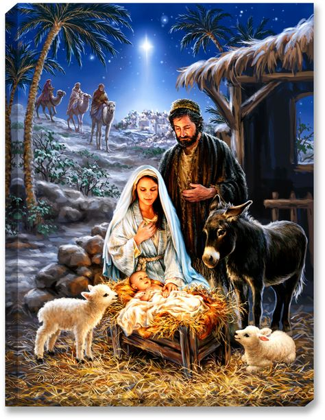 A Savior Is Born Illuminated Fine Art Christmas Nativity Scene