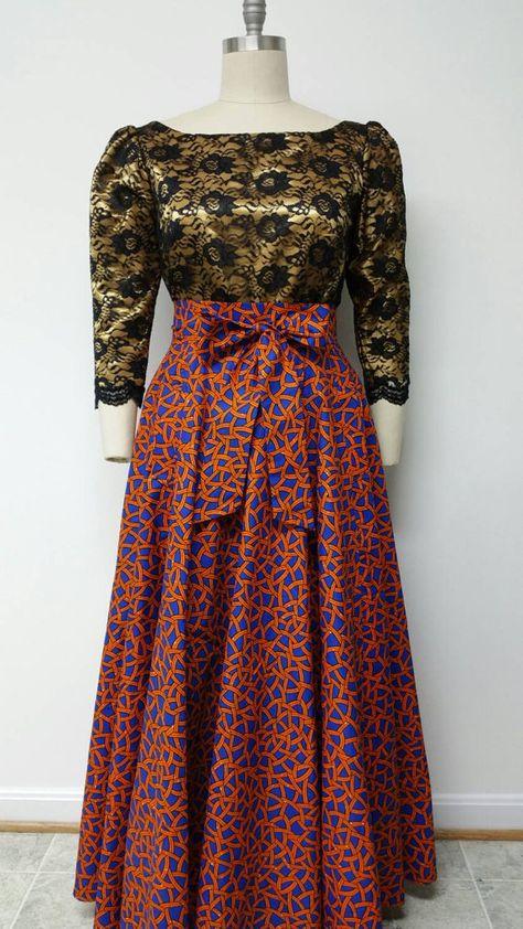 Flare doublé taille haute jupe Maxi. Jupe cercle complet. Ceinture ceinture. Womens. À la main. Jupe imprimée africaine. Disponible en Midi ou Maxi.