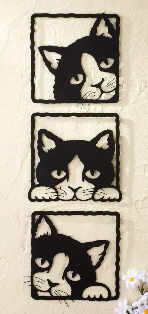 Collections Etc Peeping Black Cats 3D Metal Wall Plaques | Gatos, Cat And  Black Cats