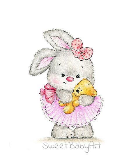 Bunny with Baby Teddy Bear Nursery Art Print Children Wall