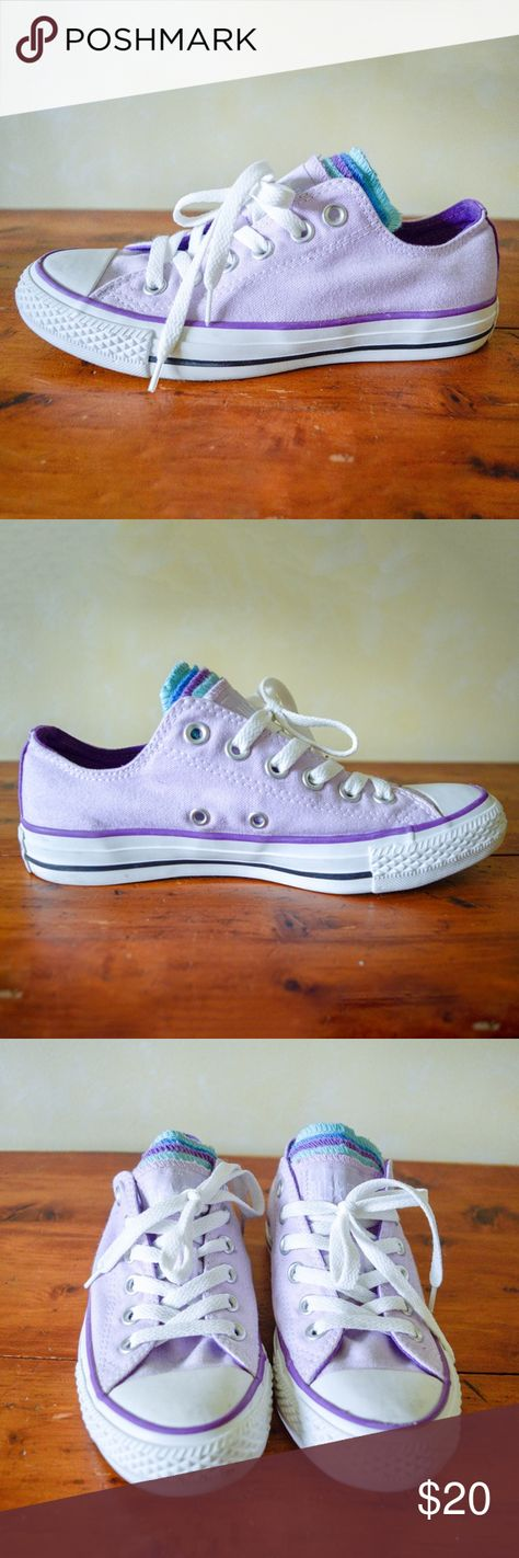 95d61de2f621 Multi-Tongue All Star Converse Light Purple Converse with 5 tongues. Child  size 5