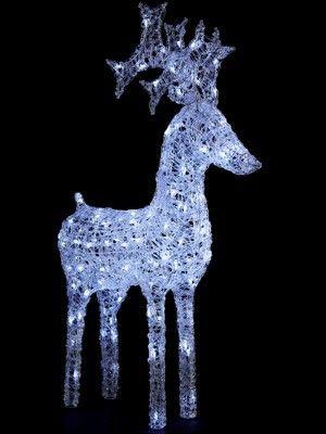 Light-up Standing White Reindeer Outdoor Christmas Decoration - light up christmas decorations