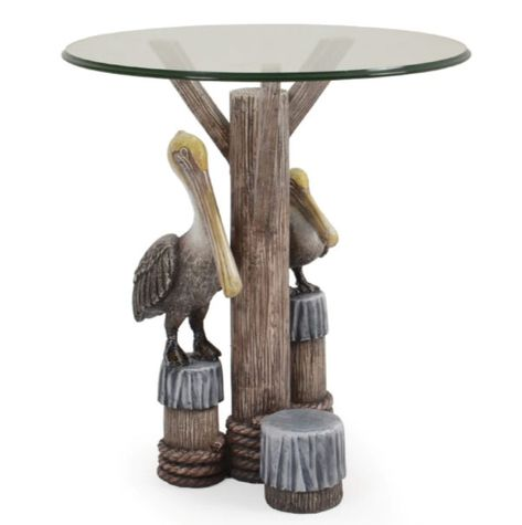 Remarkable Tropical Nautical 2 Pelicans Side Table W Glass Top Model Ibusinesslaw Wood Chair Design Ideas Ibusinesslaworg
