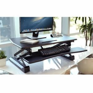 Seville Classics Airlift Black 35 4 In Electric Height Adjustable Standing Desk Converter Workstation Dual Monitor Riser W Keyboard Tray Off65806 Standing Desk Converter Adjustable Standing Desk Adjustable Height Standing Desk