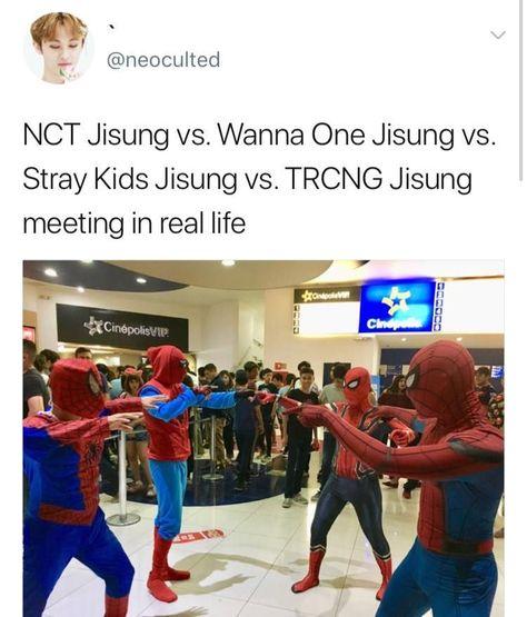 *pushes NCT jisung in the mix too* *cackling* Instyle Magazine, Cosmopolitan Magazine, Funny Kpop Memes, Kid Memes, Bae Suzy, Kim Woo Bin, Super Junior, Jason Momoa, Shinee