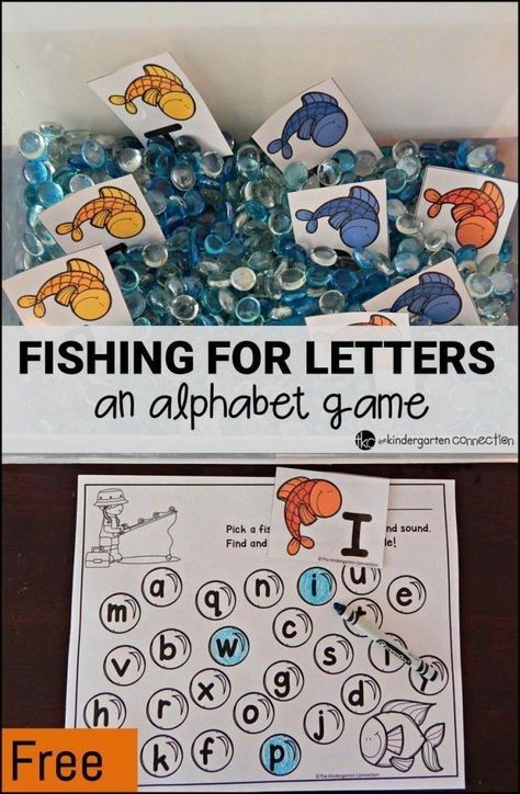 An Alphabet Game Grab a fish and find its match! Super fun alphabet game, with ideas for bin fillers for different ages too!Grab a fish and find its match! Super fun alphabet game, with ideas for bin fillers for different ages too! Kindergarten Centers, Preschool Literacy, Kindergarten Reading, Literacy Games, Preschool Alphabet, Alphabet Games For Preschoolers, Alphabet Phonics, Phonics Games, Early Literacy