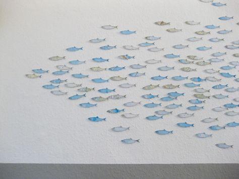 Fischschwarm Aus Atlaspapier Dekoration Kinderzimmer Fische
