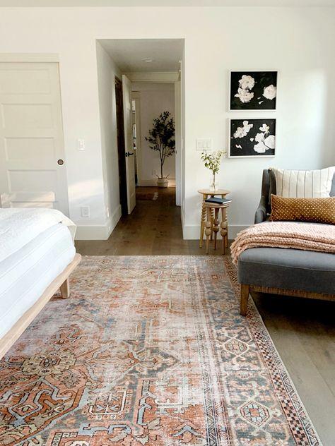 "Juniper Home Master bedroom rug: Loloi LQ-15 Loren Collection Vintage Printed Persian Area Rug 8'-4"" x 11'-6"" Terracotta/Sky"