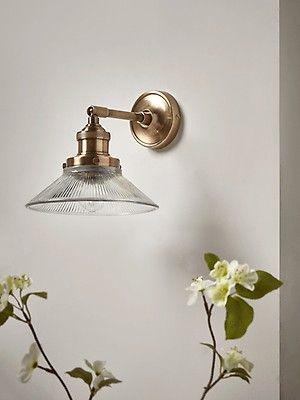 Antique Fluted Glass Wall Light Brass Glass Wall Lights Indoor Wall Lights Brass Wall Light
