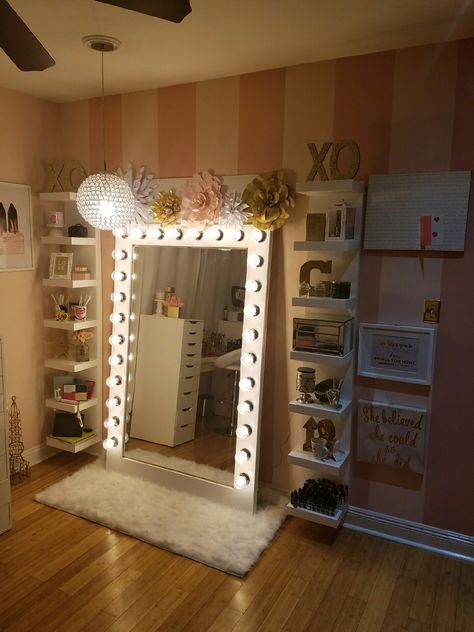Makeup storage with diy style Hollywood glam light