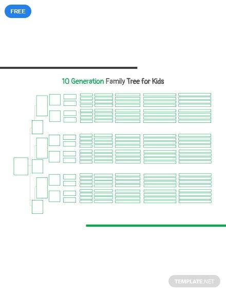 Free 10 Generation Family Tree Template For Kid S Family Tree